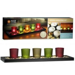 Teelichter Harmonie Set auf dunkelbrauner Holzschale